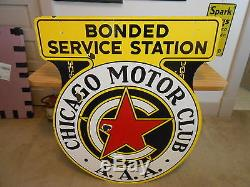 Vintage Sign AAA Chicago Motor Club Double Sided Porcelain Orig. 43x36