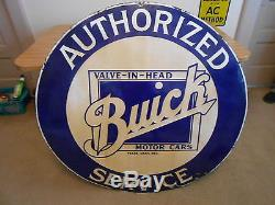 Vintage Sign Buick Authorized Service Single Sided Porcelain Valve-In-Head 42