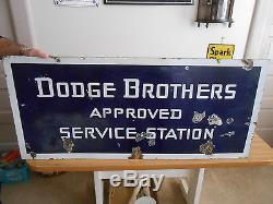 Vintage Sign Dodge Brothers Double Sided Porcelain Approved Service Station Orig
