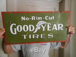 Vintage Sign Goodyear Tires No-Rim Cut ca. 1910 Very Rare Double Sided Porcelain