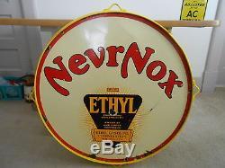 Vintage Sign NevrNox Ethyl Gasoline Double Sided Porcelain 30 Dia. Original