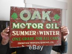Vintage Sign Oak Motor Oil Flange Rare Original 18x14 Double Sided Metal
