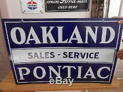 Vintage Sign Oakland Pontiac Sales-Service Double Sided Porcelain 35x24 Original