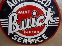 Vintage Sign Original Buick Service Double Sided Porcelain 42 Dia