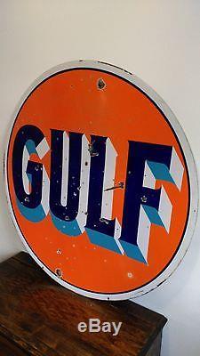Vintage Sign Original Gulf Gasoline Double Sided Porcelain 42
