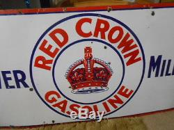 Vintage Sign Red Crown Gasoline Power Milage Single Sided Porcelain Gas Oil
