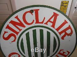 Vintage Sign Sinclair Gasoline Single Sided Porcelain 48 1920's Original