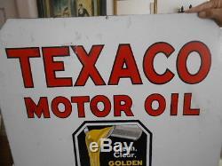 Vintage Sign Texaco Motor Oil Double Sided Porcelain 30x30 Original
