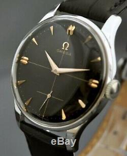 Vintage Signed Omega St Steel Manual Wind Black Dial Working Vintage Gents Watch