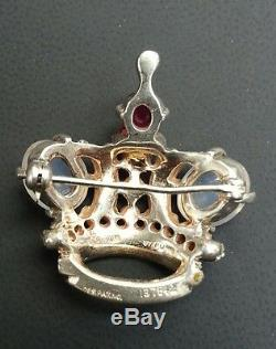 Vintage Signed Trifari Crown Brooch Pin 1940's
