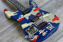 Vintage Signed Twice! ESP Kamikaze II George Lynch Signature 1988 Blue Camo OHSC