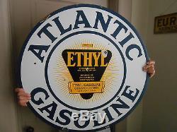 Vintage Signs Atlantic Ethyl Gasoline Double Sided Porcelain 30 Original