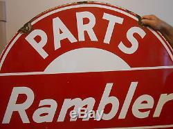 Vintage Signs Automobile Rambler Parts & Service 42 Porcelain by Walker