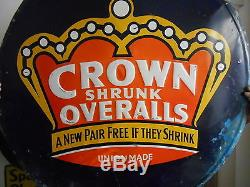 Vintage Signs Crown Shrunk Overalls Union Made Embossed Single Sided Metal 30