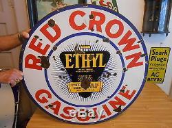 Vintage Signs Red Crown Ethyl Gasoline Double Sided Porcelain 30 Dia. Original