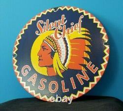 Vintage Silent Chief Gasoline Porcelain Gas Service Station American Pump Sign