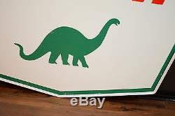 Vintage Sinclair Porcelain Sign Gas Oil Station Advertising Dino with Ring CLEAN