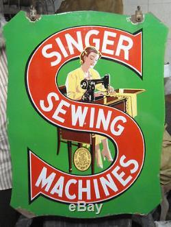 Vintage Singer Sewing Machine Double Sided Enamel porcelain Sign Board Made USA