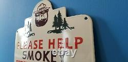 Vintage Smokey The Bear Porcelain National Park Entrance Forest Service Sign