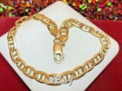 Vintage Solid 14k Gold Bracelet Mariner Chain Italy Designer Signed Aurafin 4