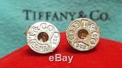 Vintage Sterling Silver Genuine Designer Signed Tiffany & Co Earrings 1837 Stud
