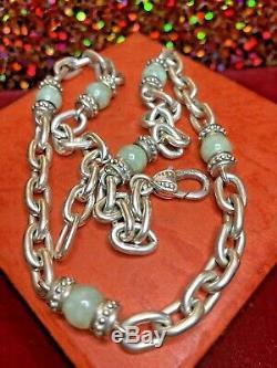 Vintage Sterling Silver Jade Jadeite Designer Signed Judith Ripka Necklace Chain