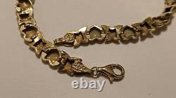 Vintage T&c 10k Yellow Gold Hugs & Kisses X&o Bracelet 7 Long Signed Hallmarked