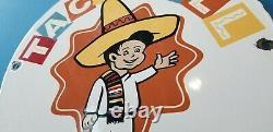Vintage Taco Bell Porcelain Fast Food Service Restaurant Drive Thru Sign