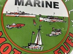 Vintage Texaco Marine Gasoline Porcelain Sign Gas Station Pump Plate Motor Oil