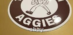 Vintage Texas A&m Porcelain Aggies Atm College University Sports Stadium Sign