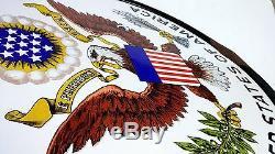 Vintage United States Embassy Sign Porcelain Enamel 24 dia Eagle US Flag Oil