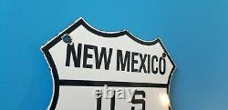 Vintage Us Route 66 Porcelain Gasoline Auto New Mexico Road Shield Sign