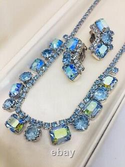 Vintage Weiss Signed Blue Aurora Borealis Rhinestone Necklace Choker & Earrings