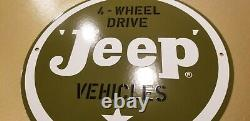 Vintage Willy's Jeep Porcelain Gas Auto Sales & Service Dealership 11 3/4 Sign