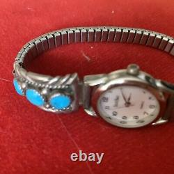 Vintage Zuni Sterling Silver Watch Band Tips Turquoise and signed R