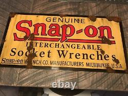 Vintage early style look genuine Snap-on socket wrench tool dealer sign Nice