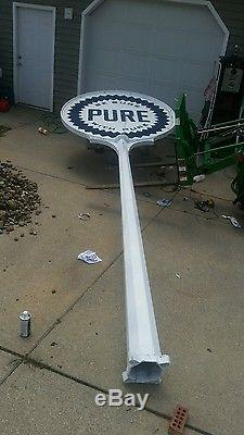 Vintage pure oil comp. Sign pole and porcelain sign not texaco gulf esso nascar
