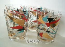 Vintage set of mid century modern abstract barware rare glasses tumblers signed