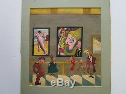 Vntg Antique Abstract Painting Museum Show Gallery Nude Surreal Modernism 1940