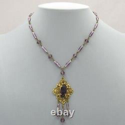Vtg 1930s Art Deco Signed Czech Amethyst Glass Flower Dangle Pendant Necklace