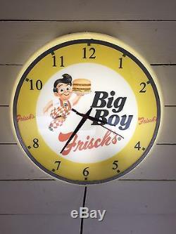 Vtg 1950's Frisch's Big Boy Restaurant Lighted Clock Light