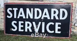 Vtg 1958 Standard Service Porcelain Gas Station Sign Gas Oil 8 X 4 SSP Nice