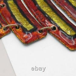 Vtg 1960s 70s Signed Limoges Foiled Enamel French Modernist Bib Necklace