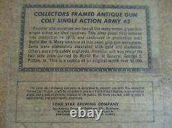 Vtg 1969 Lone Star Beer Peacemaker Gun Pistol In Motion Texas Tx Bar Heat Sign