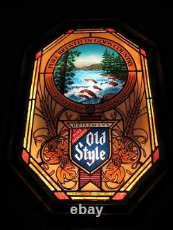 Vtg 1982 Old Style Beer Waterfall River Rapids Motion Bar Light Pub Sign Hamm's