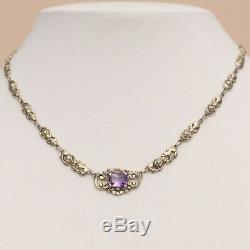 Vtg Art Deco 800 Silver Vermeil Natural Amethyst Flower Pendant Signed Necklace
