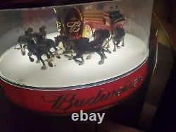 Vtg Budweiser Bud Beer Clydesdale Parade Motion Bar Light Pub Sign Carousel