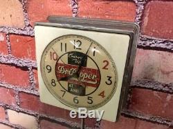 Vtg Chrome Deco Dr. Pepper Soda Store Advertising Diner Kitchen Wall Clock Sign