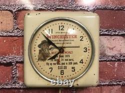 Vtg Ge Winchester Gun Shop Dealer-old Rifle Advertising Display Wall Clock Sign