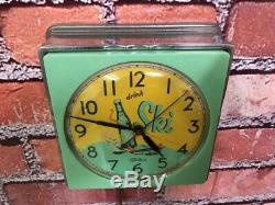 Vtg Green Telechron Chrome Ski Soda Advertising-diner Kitchen Wall Clock Sign